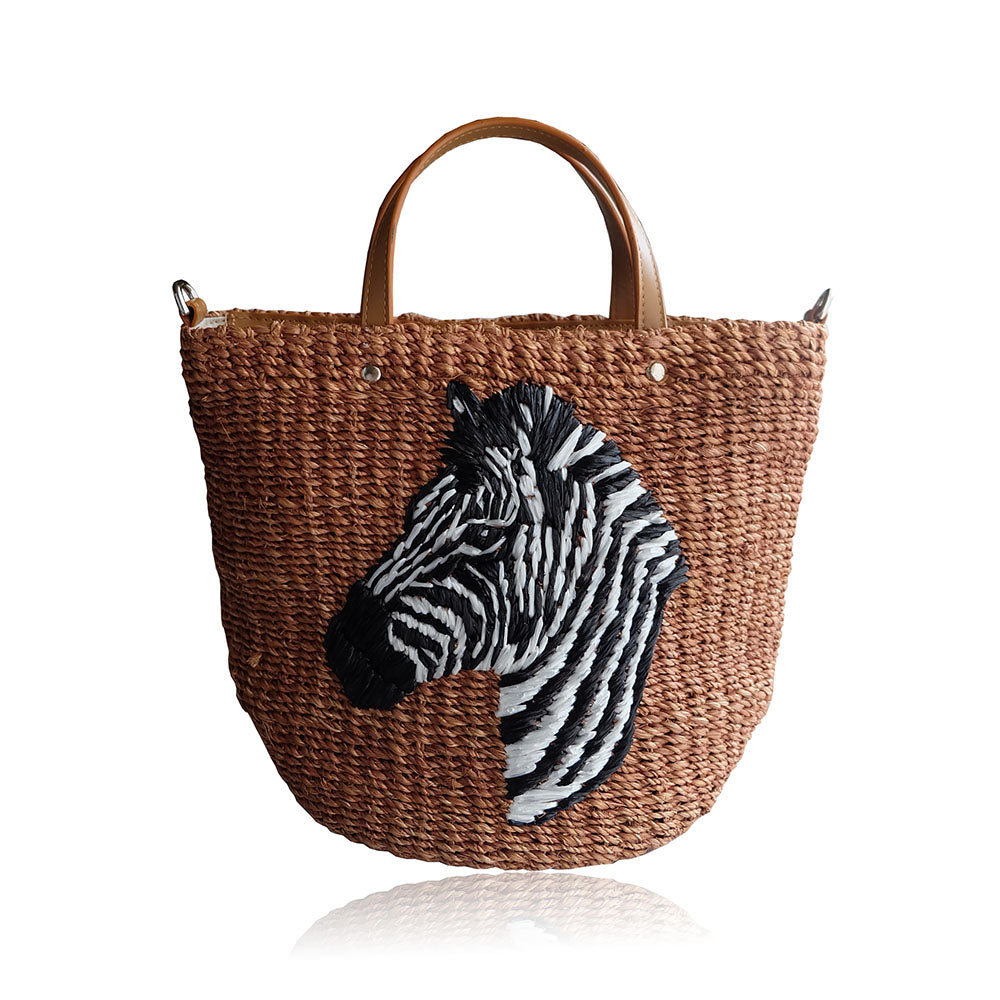 """Pippa"" Tan Zebra Embroidered Abaca Crossbody"