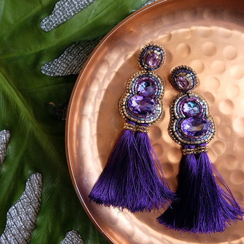 """Victoria"" Purple Tassel Earrings"