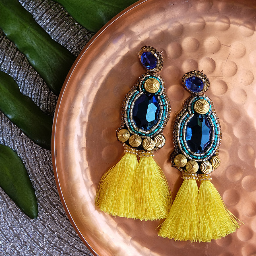 """Soleil"" Yellow Tassel Earrings"
