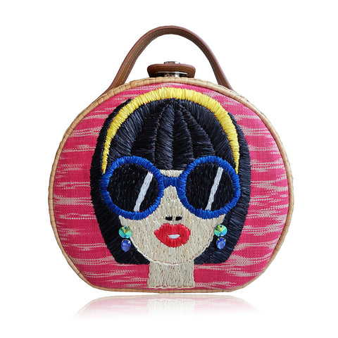 """Suyen"" Pink Tinalak Embroidered Round Rattan Tote"