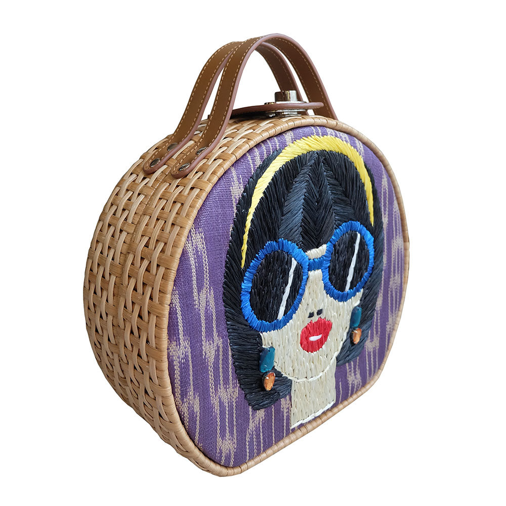 """Suyen"" Purple Tinalak Embroidered Rattan Tote"