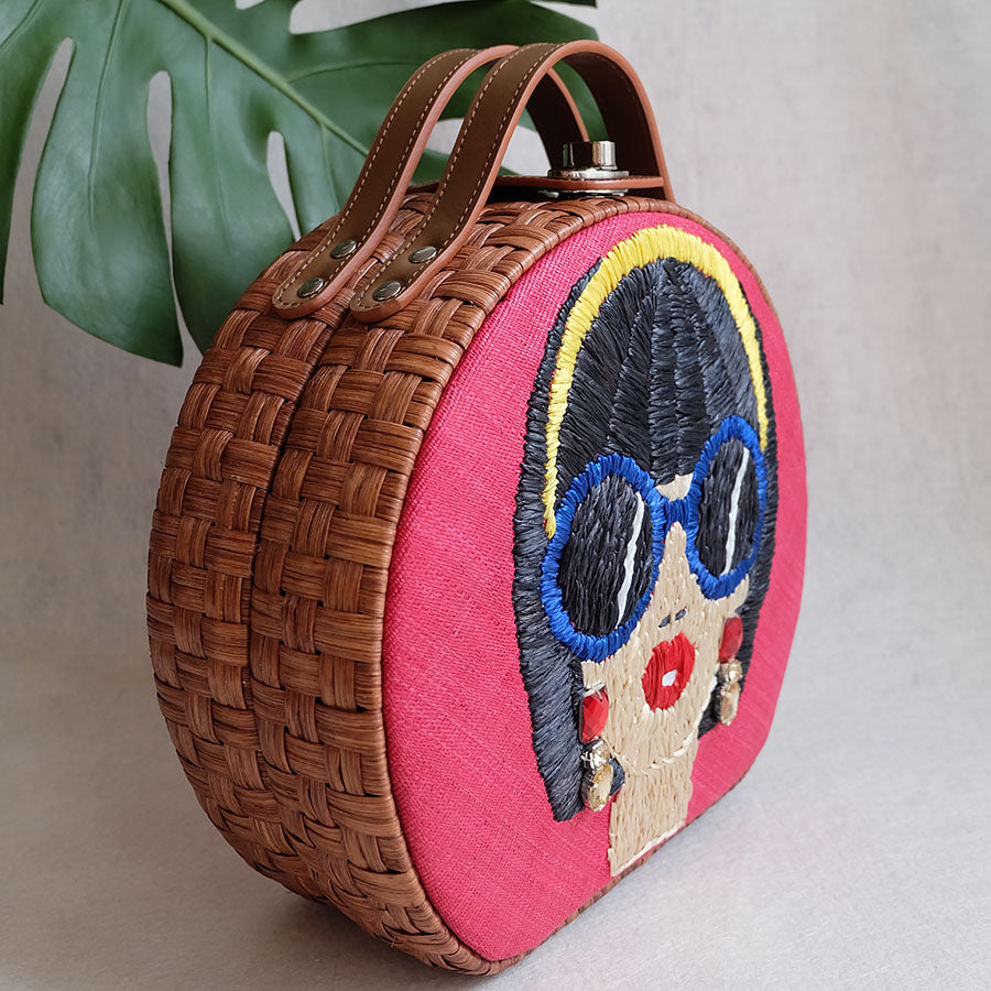 """Suyen"" Embroidered Round Rattan Tote"