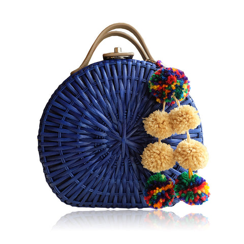 """Talitha"" Cobalt Blue Round Rattan Convertible Tote"