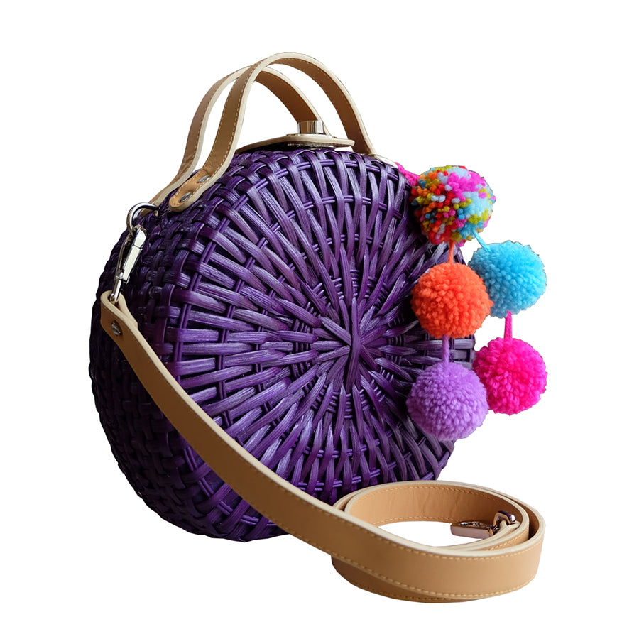 """TALITHA"" Violet Round Rattan Convertible Tote"