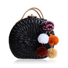 """Talitha"" Black Round Rattan Convertible Tote"