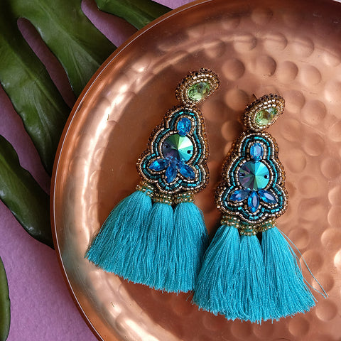 """Liana"" Turquoise and Green Triple Tassel Earrings"