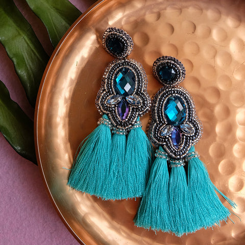 """Maruxa"" Turquoise Triple Tassel Earrings"