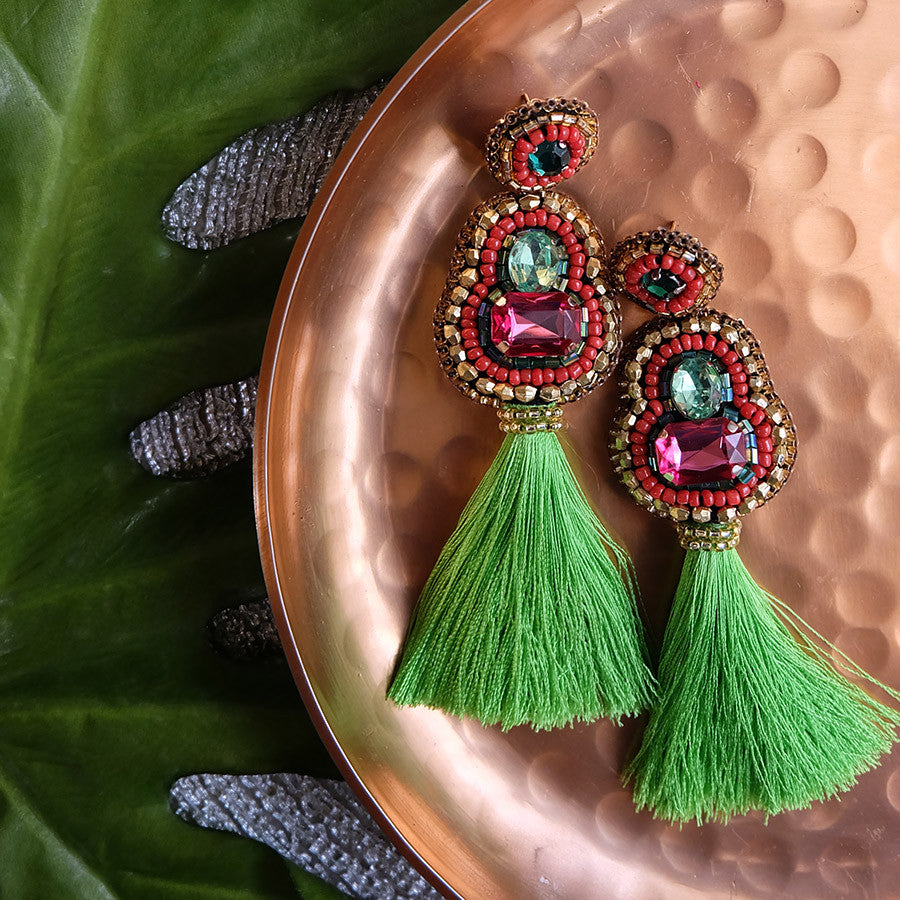 """Vanni"" Pink and Chartreuse Tassel Earrings"
