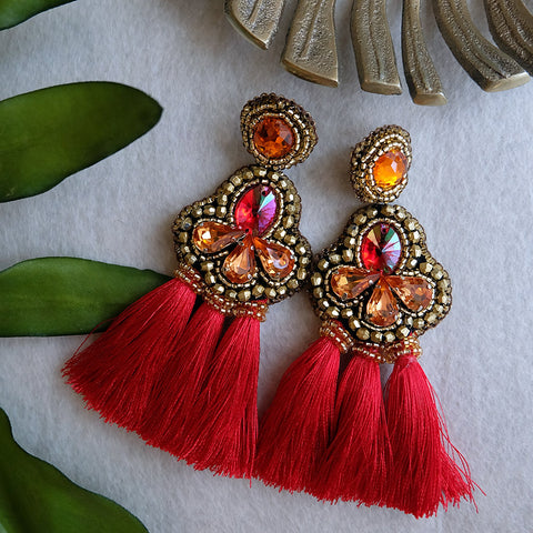 """Venice"" Red Triple Tassel Earrings"