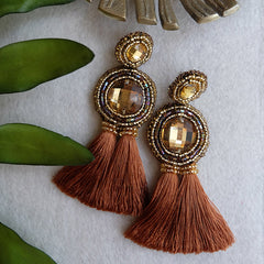 """Willow"" Brown Tassel Earrings"