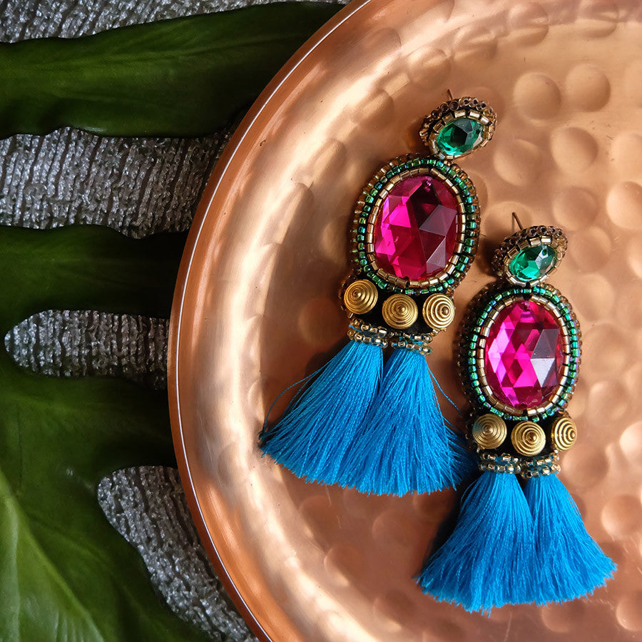 """Winifred"" Fuchsia and Aqua Tassel Earrings"