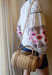 """Sarika"" Barrel Rattan Crossbody Bag"
