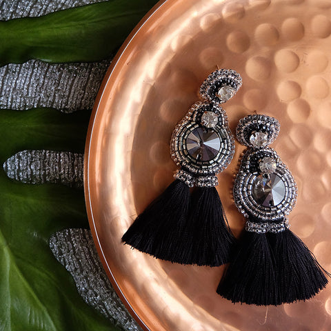 """Stella"" Black Tassel Earrings"