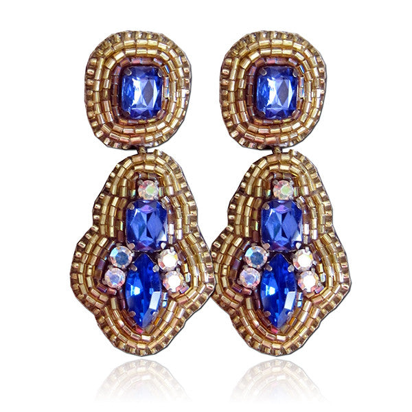 """Lila"" Blue and Gold Earrings"