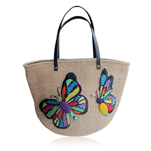 """Rosa"" Butterfly Abaca Tote"