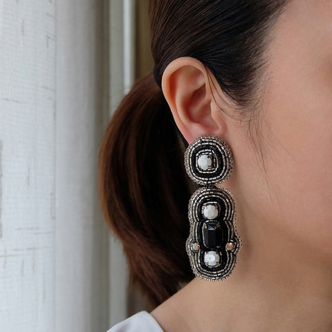 """Calista"" Black and White Beaded Earrings"