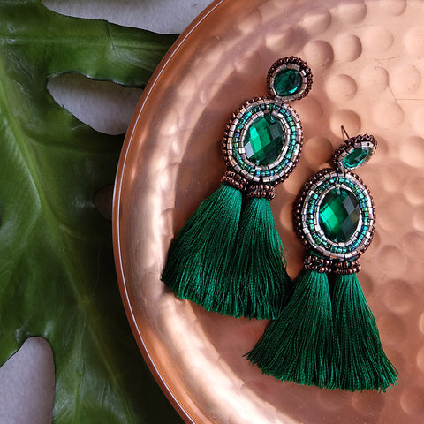 """Emilia"" Green Tassel Earrings"