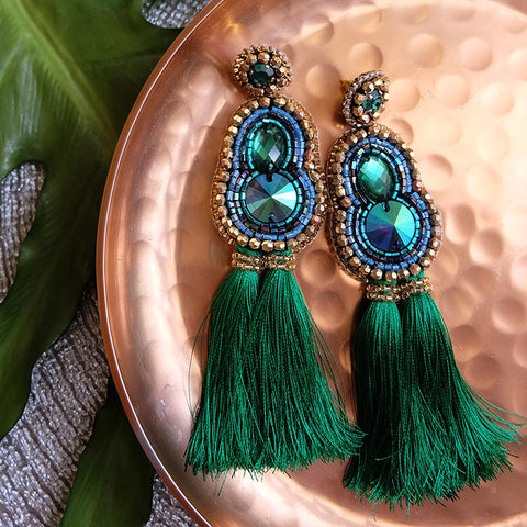"""Nicola"" Emerald Green Tassel Earrings"