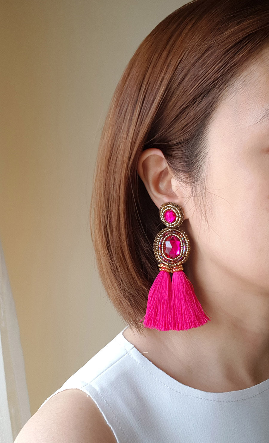 """Brooke"" Fuchsia Tassel Earrings"