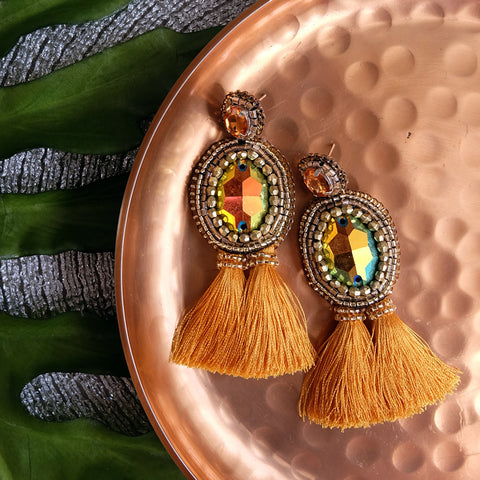 """Marina"" Gold Tassel Earrings"
