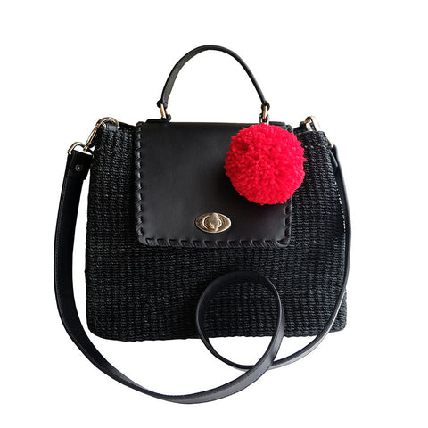 """Kelly"" Black Abaca Satchel"