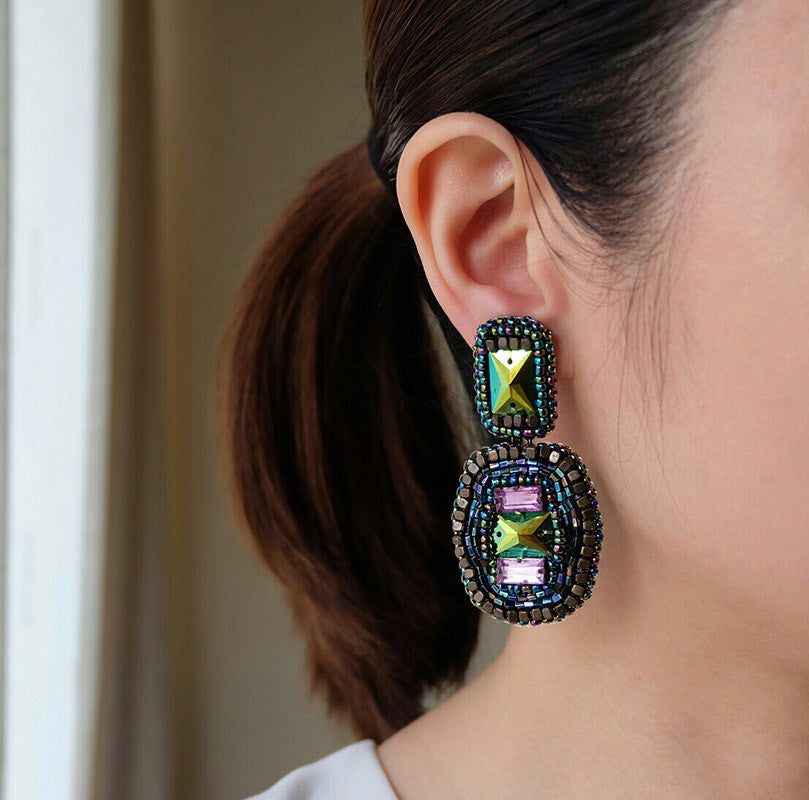 """Mari"" Multicolor Beaded Earrings"