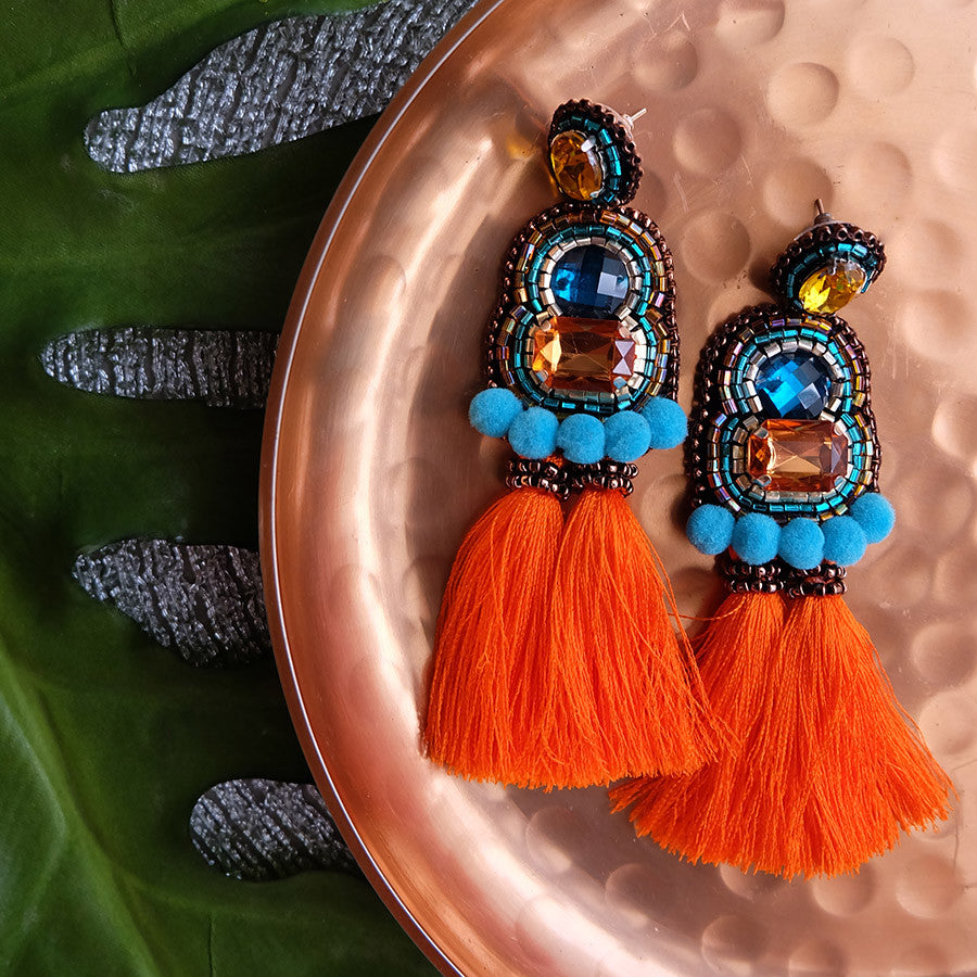 """Carmen"" Aqua and Orange Tassel Earrings"