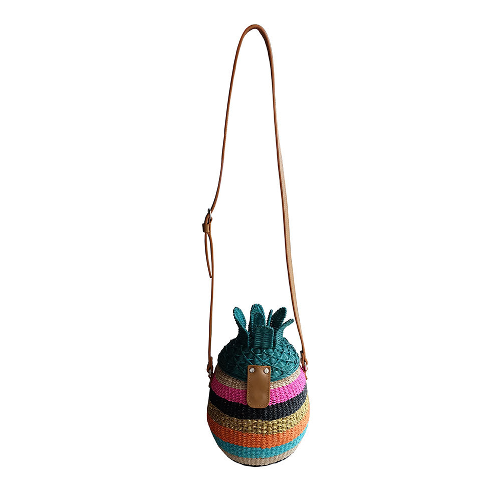 """Piña"" Striped Abaca and Wicker Bag"