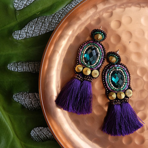 """Vida"" Aubergine Tassel Earrings"