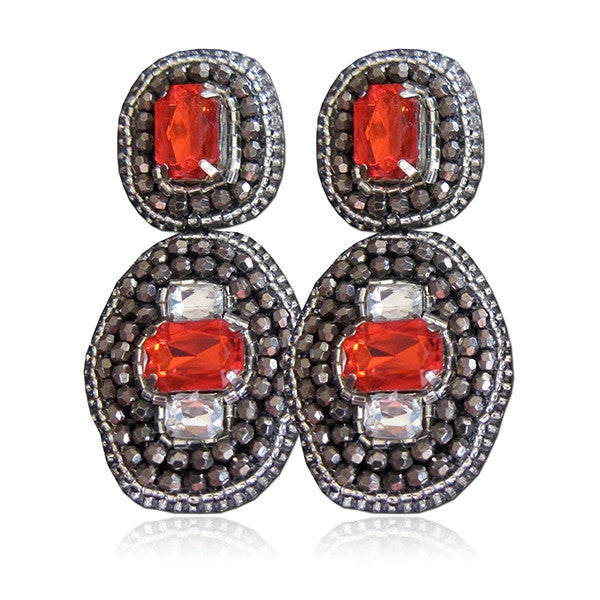 """Tallulah"" Red/Pewter Grey Earrings"