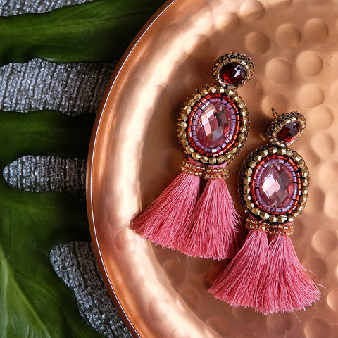 """Grace"" Salmon Beaded Tassel Earrings"