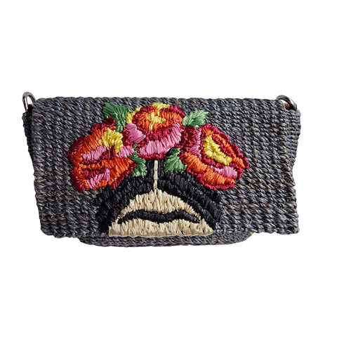 """Señorita"" Small Embroidered Abaca Crossbody Bag"