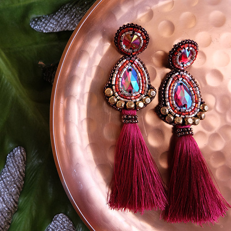 """Manuela"" Bordeaux Tassel Earrings"