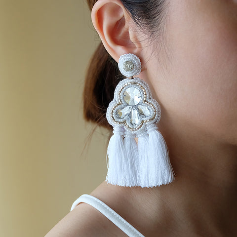 """Mikaela"" White Statement Tassel Earrings"