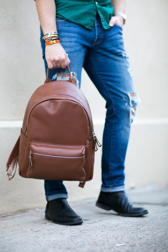 Men's Crown Backpack | Tan Leather