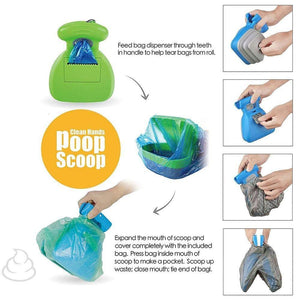 Foldable Pooper Scooper With 1 Roll Decomposable Bags - Paws & Pose