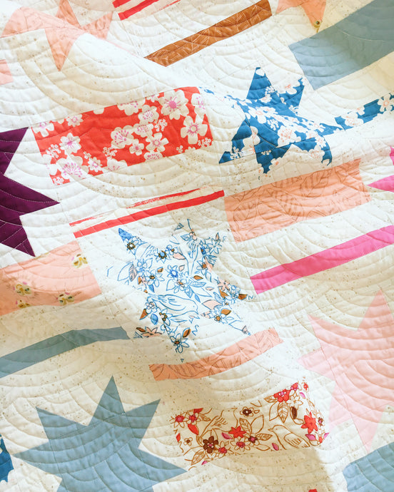 Mismatched Stars and Stripes Modern Quilt Pattern