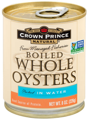 (2 Pack) Crown Prince Natural Whole Boiled Oysters, 8 oz