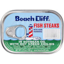 Load image into Gallery viewer, (4 Pack) Beach Cliff Fish Steak in Soy Oil with Green Chilies, 3.75 oz
