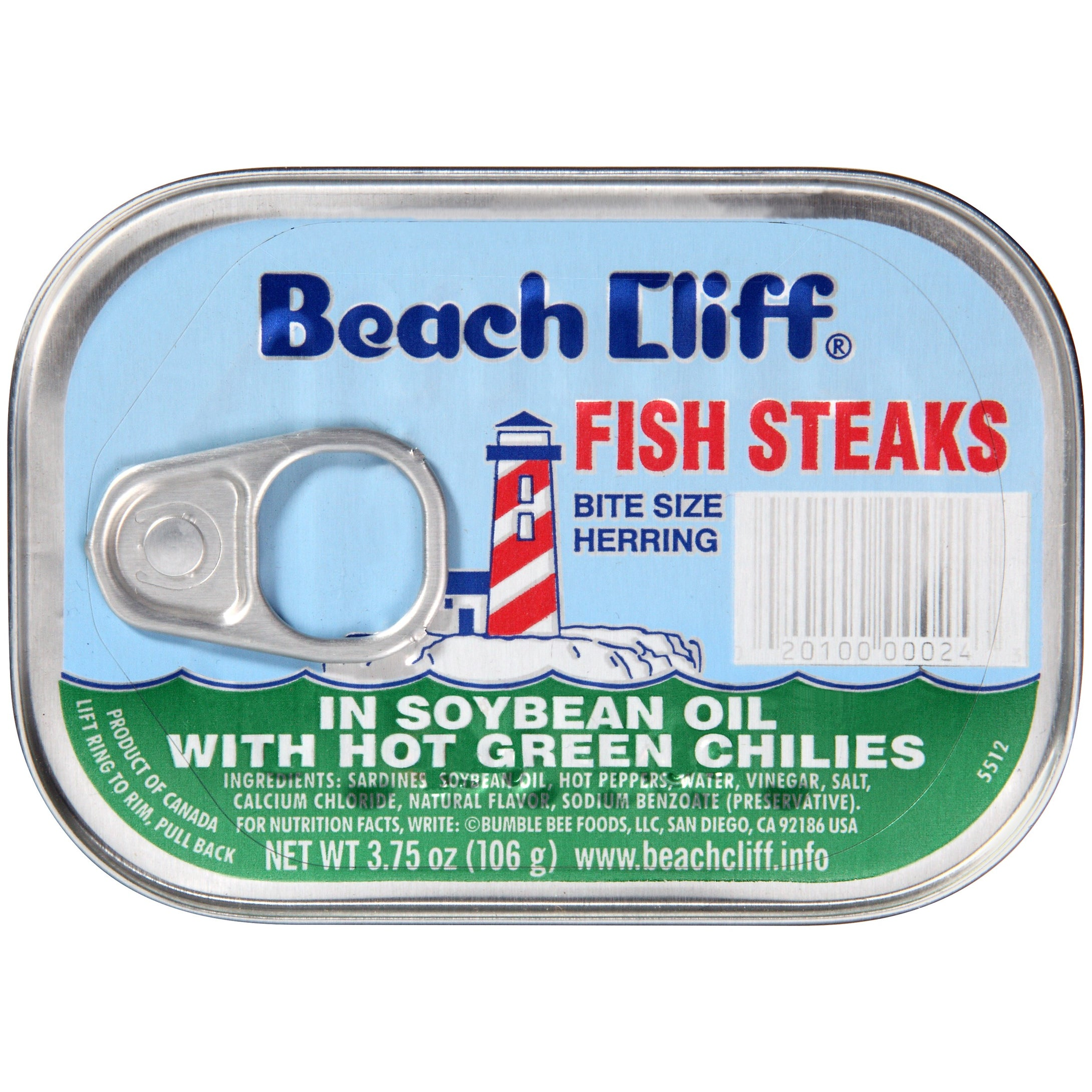 (4 Pack) Beach Cliff Fish Steak in Soy Oil with Green Chilies, 3.75 oz