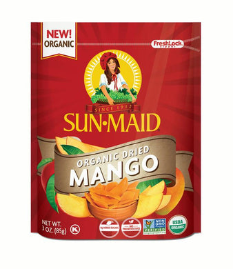 Sun-Maid Organic Dried Mango Slices, 3 oz Bag
