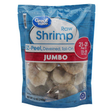 Load image into Gallery viewer, Frozen Raw Jumbo Shell-On Tail-On Easy Peel Shrimp, 12 oz