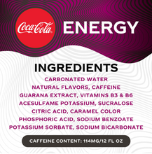 Load image into Gallery viewer, Coca-Cola Energy Zero Sugar Cherry (12oz / 24pk)