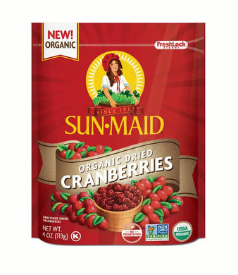 Sun-Maid Organic Dried Cranberries 4 oz Bag