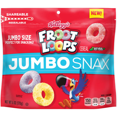Kellogg's Froot Loops Jumbo Snax, Cereal Snacks, Original, 6 Oz