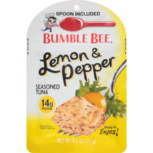 Load image into Gallery viewer, BUMBLE BEE Lemon and Pepper Seasoned Tuna Pouch with Spoon, Tuna Fish, Gluten Free, Keto Snack, High Protein, Bulk Snacks, 2.5 Ounce Pouch (Pack of 12)