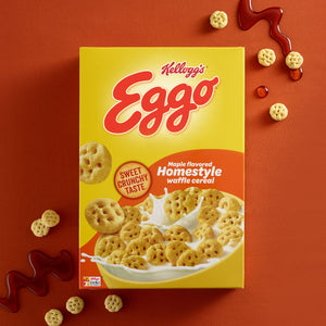 Kellogg's Eggo, Breakfast Cereal, Maple Flavored Homestyle Waffle, Family Size, 14.1 Oz
