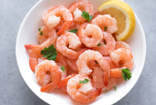Load image into Gallery viewer, Frozen Cooked Medium Peeled & Deveined Tail-On Shrimp, 12 oz