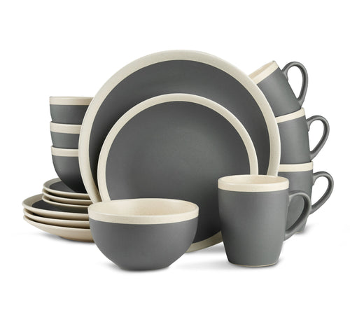 Stone Lain 16-Piece Stoneware Round Dinnerware Set, Service for 4 in 2 Tone Dark Gray and Cream with Speckle Dishes