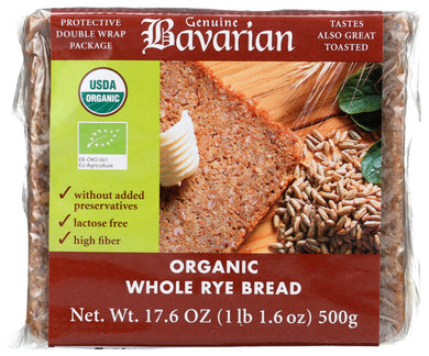 (6 Pack) Genuine Bavarian Bread, Whole Rye, Organic, 17.6 Oz.
